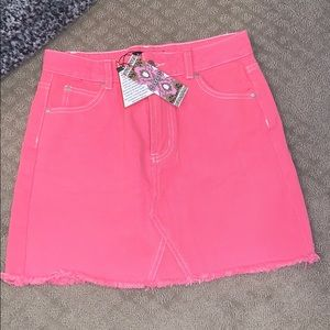 Boohoo pink skirt!